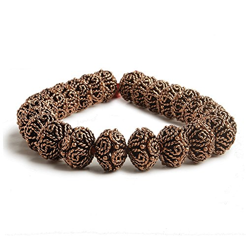 5x12x12mm Antiqued Copper Bead Cap with Bali Scalloped Edge Scroll 8 inch 48 pcs ()