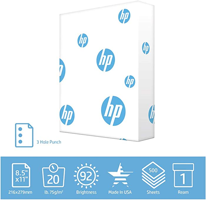 HP Printer Paper 3 hole punch paper Office 20 lb 1 Ream 500 Sheets 92 Bright Made in USA FSC Certified Copy Paper HP Compatible 113102R