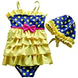 Jojobaby Baby Girls Toddler Kids One Pieces Polka Dot Swimsuits Swimwear Beachwear with Swim Hat (S(2-3 Years), Yellow)