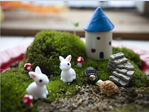 Ginsco 10pcs Miniature Fairy Garden Dollhouse Mediterranean Style DIY kit
