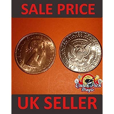 COPPER SILVER HALF TRANSPOSITION MAGIC TRICK COIN / COIN MAGIC ILLUSION / HALF DOLLAR - ENGLISH PENNY VERSION by QUICK PICK MAGIC: Toys & Games