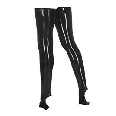ba573ed11 EXLATEX Women s Latex Rubber Thigh High Long Stirrup Stockings (Small