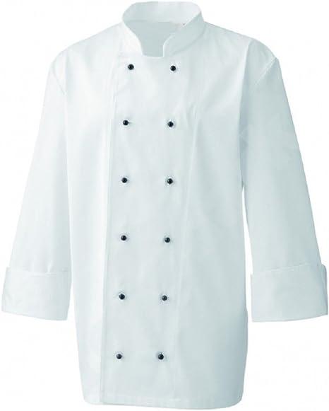 Chaqueta de cocinero chef blanca, uniforme, botones de presión negros, negro, Medium: Amazon.es: Hogar