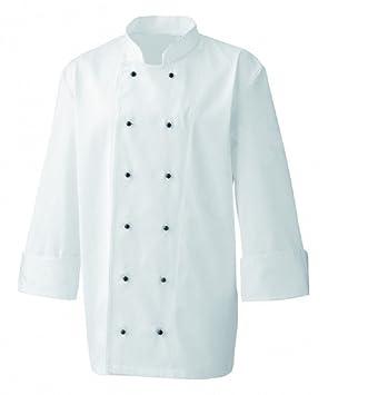 70592227a44 Chaqueta de cocinero chef blanca, uniforme, botones de presión negros,  negro, Medium: Amazon.es: Hogar