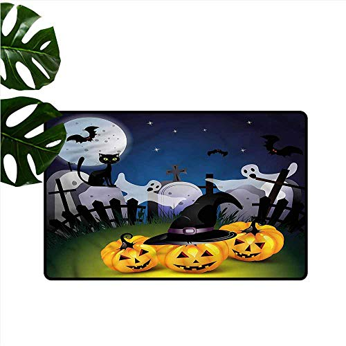 DUCKIL Interesting Doormat Halloween Pumpkins Witches Hat Moon