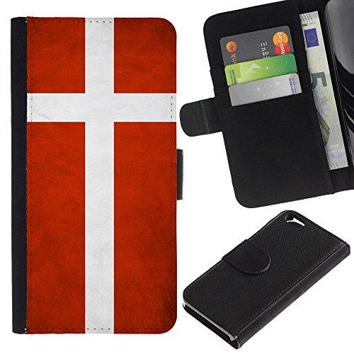 EuroCase - Apple Iphone 6 4.7 - Denmark Grunge Flag - Cuir PU Coverture Shell Armure Coque Coq Cas Etui Housse Case Cover