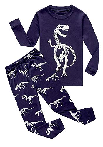 Big Boys Long Sleeve Glow-in-The-Dark Pajamas Sets 100% Cotton Clothes Kids Pjs Size 8 -