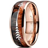 Three Keys Jewelry 8mm Rose Gold Tungsten Wedding Ring with Koa Wood Zebra Wood Two Arrows Inlay Dome Hunting Ring Wedding Band Engagement Ring Size 10.5