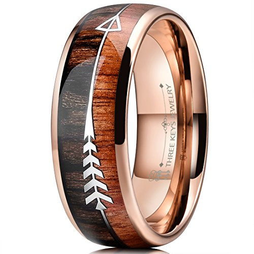 THREE KEYS JEWELRY 8mm Rose Gold Tungsten Wedding Ring with Koa Wood Zebra Wood Two Arrows Inlay Dome Hunting Ring Wedding Band Engagement Ring Size 11.5