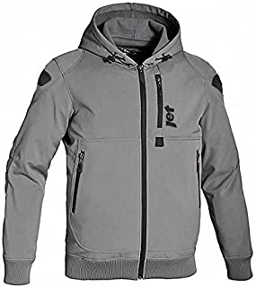JET Motorcycle Motorbike Protective Jacket Black and Grey Hoody Armoured Soft Shell (5XL (50' - 52'), Grey)