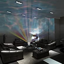 Gideon DreamWave Soothing Ocean Wave Projector LED Night Light with Built-in Stereo Speakers/(12 LED Bulbs - 3 Colors) Water Wave LED Ceiling Projector for Children - Connects with Any Audio Device