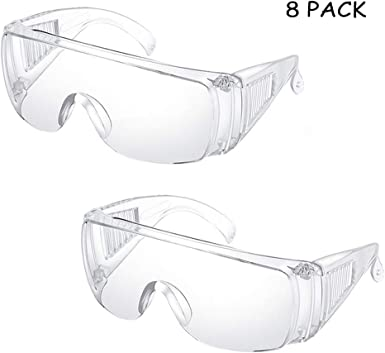 Amazon Com Kalolary 8 Pack Safety Glasses Personal Protective Equipment Safety Goggles Eye Protection For Construction Shooting Laboratory Chemistry Class Clothing