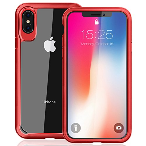MILPROX iPhone Xs Eye-catching Series, Ultra Thin Slim Transparent Crystal Clear PC Back Cover with Rubber TPU Bumper, Shockproof Anti-Scratch case for iPhone X/iPhone Xs - Red
