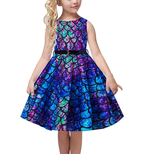 Girls Pretty Dresses (uideazone Blue Purple Mermaid Fish Scale Dress for Girls' Slim Fit Twirl Dresses Fall School Beach Costume Gift for Kid Preschooler Daughter Adjustable Belt 6-7)