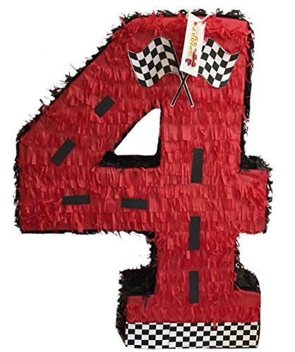 APINATA4U Large Red Number Four Racing Theme Pinata