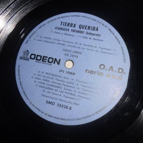 Atahualpa Yupanqui, P. del Cerro, C. Lopez Buchardo, G. Caraballo, R. Cuello, S. Aredes - Tierra Querida Por Atahualpa Yupanqui (Odeon // Vinyl) ...