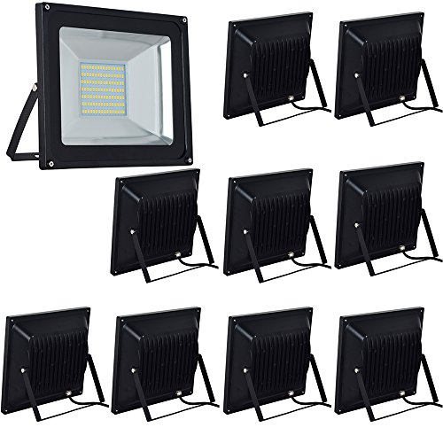 10-Pack 100W LED Floodlight,Low-energy Warm White Spotlight,IP65 Waterproof Outdoor&Indoor Security
