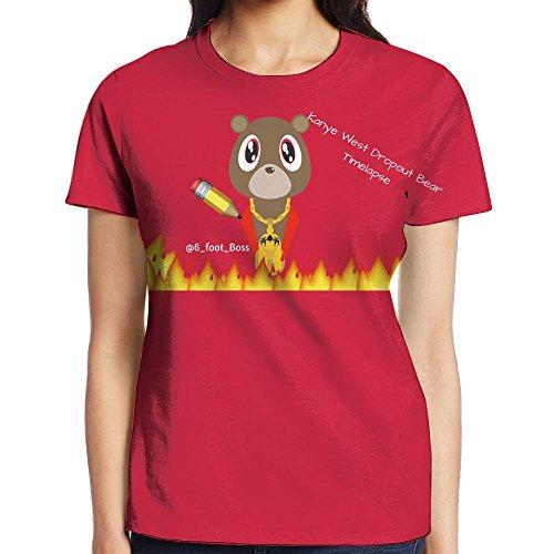 IEIDJFF Basketball Kanye West Bear T-Shirt Short Sports Custom Womens Round Collar Medium Print Both Front and - White Kanye Blazer West