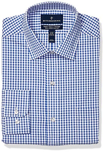 BUTTONED DOWN Men's Classic Fit Tech Stretch CoolMax Easy Care Dress Shirt, Navy Gingham, 16.5