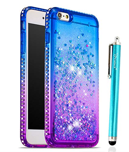 Glitter Case for iPhone 6/6S Plus, Cattech Liquid Quicksand Waterfall Flowing Sparkle Shiny Bling Diamond Luxury Pretty Fashion Cute Girls Women for iPhone 6/6S Plus Case 5.5'' + Stylus (Blue/Purple) (Plus Iphone 6 Skin Glitter)