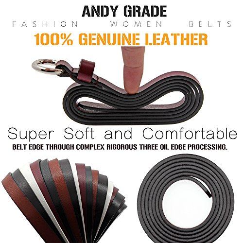 Set of 5 Women's Genuine Cowhide Leather Belts Stylish Thin Dresses Fashion Vintage Casual Skinny Belt for Jeans Shorts Pants Summer for Women With Alloy Buckle By ANDY GRADE by ANDY GRADE (Image #3)