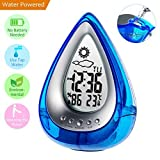 Jamal Alarm Clock Water Power Digital Weather Station Time Humidity Large LCD Display and Temperature Measurement Environmental Technology for Indoor Office Home (Blue)