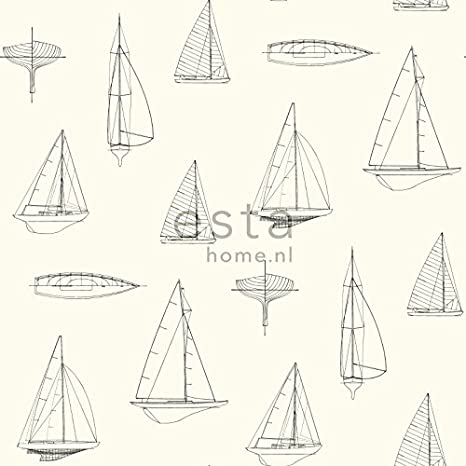 Tapete Boote Beige 136429 von ESTAhome.nl