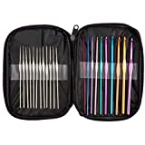 Cutebox 22pcs Mixed Aluminum Handle Crochet Hooks, Ergonomic Knitting Knit Needles, Weave Yarn Set, 0.6~6.5mm