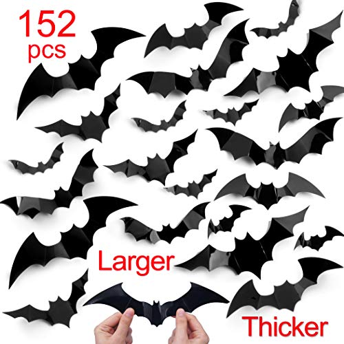 Halloween Bat Decoration (complex Halloween Decorations 152pcs Halloween Bat Wall Decals Stickers,Extra Large 3D Bats for Wall Window Mirror Decals, Door Halloween)
