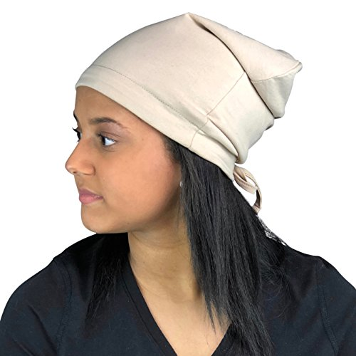 Satin Life Adjustable Drawstring Soft Slouchy Satin Lined Hat Cap Beanie (Beige)