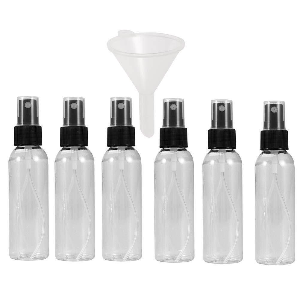Frcolor Trasparente Flacone spray con imbuto Atomizzatore vuoto per nebulizzatore di profumo di plastica vuoto per trucco Riutilizzabile per viaggi 50ml 6 pezzi