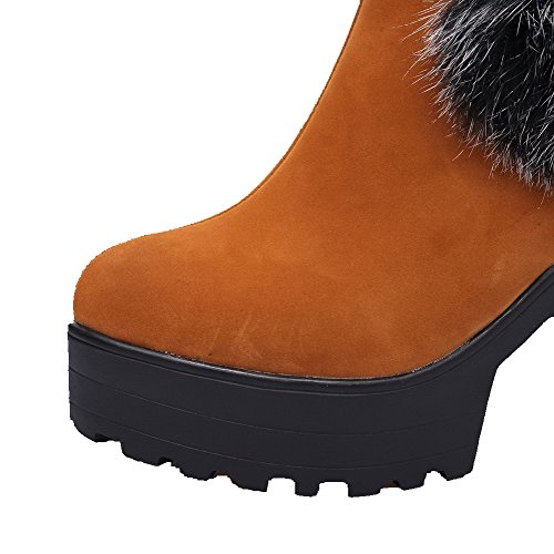Heels Boots Women's Brown Round Pull Allhqfashion Imitated On Closed High Toe Suede Solid zUdPq