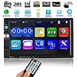 Catuo Bluetooth Car Touch Screen Stereo Audio Video Receiver Player, 7 inch 2 Din In Dash 1080P Car Media MP5 Player with Rear View Camera Remote Control, FM Radio/USB/TF/AUX-in/Hands-free Call