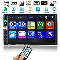 Catuo Bluetooth Car Touch Screen Stereo Audio Video Receiver Player,  7 Inch 1080P Car Media MP5 Player with Rear View Camera Supported, FM Radio/USB/TF/AUX-in/Hands-free Call