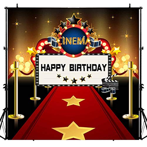 Hollywood Red Carpet Backdrops for Birthday Party, 6x6FT, Cinema Dress-up and Awards Night Ceremony Backgrounds, Cake Table Banner LUGE054