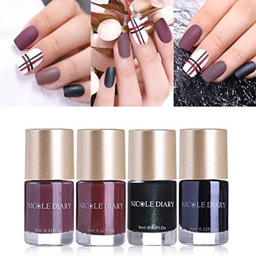 NICOLE DIARY Matte Nail Polish Sets Cosmetics Nail Lacquer Quick Dry Nail Art Varnish Long Lasting Nail Enamel Polish Decoration (4 Colors) ()