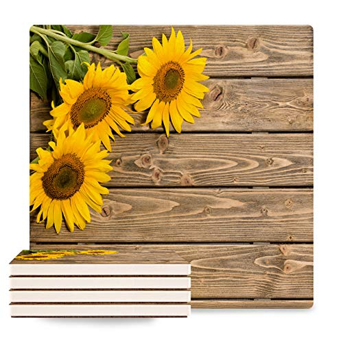 (BABE MAPS Coasters for Drinks 4-Piece Absorbent Stone Ceramic Coasters NO Holder Sunflower and Rustic Wood Coaster with Cork Backing, Prevent Furniture from Dirty and Scratched)