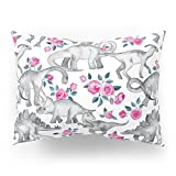Society6 Dinosaurs And Roses - White Pillow Sham Standard (20'' x 26'') Set of 2