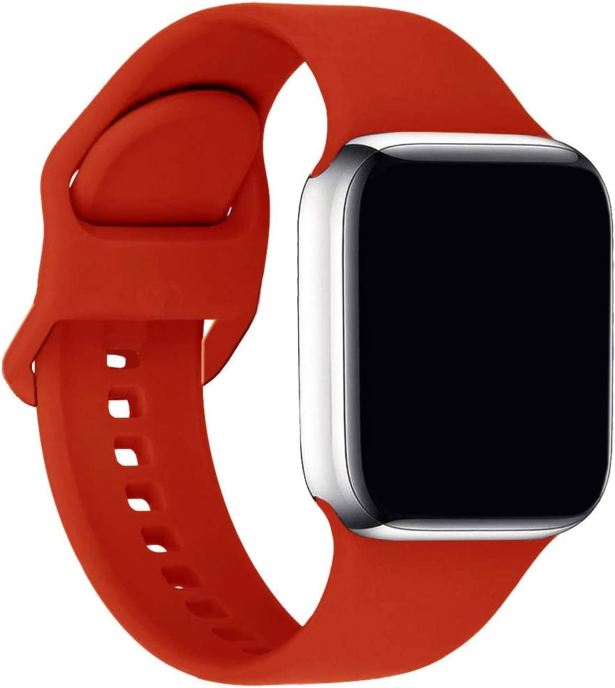 ic6Space Bands Compatible with Apple Watch Series SE/6/5/4/3/2/1, Soft Silicone Sports Replacement Band for iWatch 38mm 42mm 40mm 44mm (Red, 38mm/40mm-S/M)