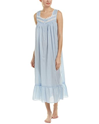 Eileen West Women s Cotton Rich Sheer Stripe Ballet Nightgown Solid Light  Delphinium Sheer Stripe Small 58d729af7