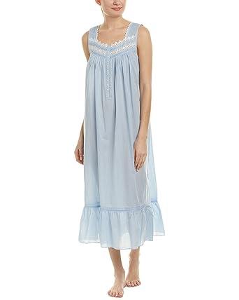 d80a22433c Eileen West Women s Cotton Rich Sheer Stripe Ballet Nightgown Solid Light  Delphinium Sheer Stripe Small