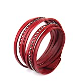 YHMM Multi-layer Genuine Leather With geometric Casual Cuff Bangle Handmade Bracelet. (Red)