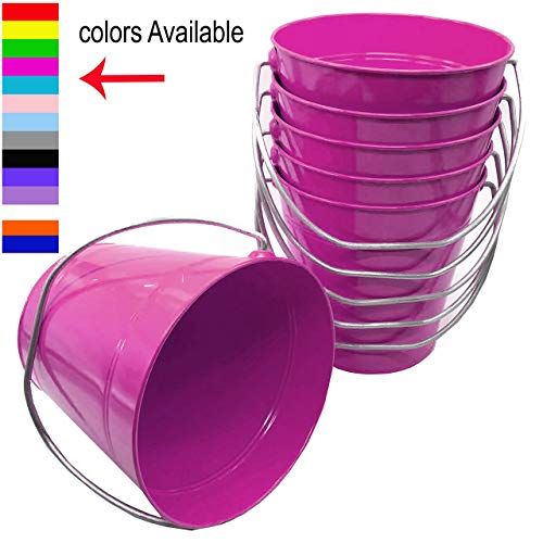 Italia 6-Pack Metal Bucket 0.5 Quart Color Magenta Size 4.3x 4.3