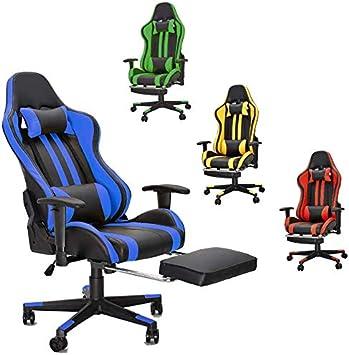 ST Chaise de Gaming Ergonomique Fauteuil Gamer Dossier Hauteur R/églable en Cuir PU Fauteuil de Bureau Racing Inclinable Chaise de Gamer avec Repose T/ête Coussin Lombaire Bleu
