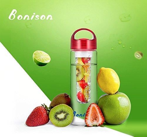 Super Light High Quality Sporty Tritan Fruit Infuser Water Bottle,leak Proof ,Trendy Durable with Handle for Fruit,juice, Iced Tea, Lemonade & Sparkling Beverages (24 Oz Red)