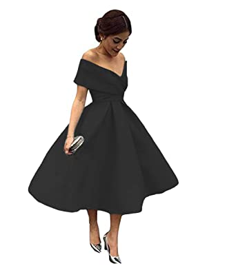 403e04cc143 Tsbridal Women V Neck Bridesmaid Dresses with Pockets Off Shoulder Wedding  Party Dress Black lace up