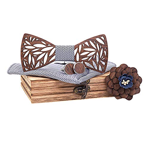 Suma-ma Handmade Hollow Out Wooden Carved Bow Tie for Man,5Pcs Mens Manual Wooden Bowtie Handkerchief Cufflinks Corsage Set,Wood Box(Gray,Free Size)