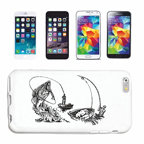 """cas de téléphone iPhone 6S """"MER PÊCHE ROD MER PECHE POISSONS NETS MER PECHE BATEAU DE PÊCHE PÊCHE CHOP PÊCHE EN LIGNE"""" Hard Case Cover Téléphone Covers Smart Cover pour Apple iPhone en blanc"""