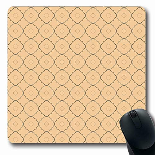 LifeCO Computer Mousepad Abstract Gray Arabesque Quatrefoil Lattice Pattern Grey Green Arabic Baby British Oblong Shape 7.9 x 9.5 Inches Oblong Gaming Non-Slip Rubber Mouse Pad Mat ()