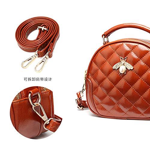 Bag Crossbody DCRYWRX Purse Leather Saddle Shoulder Handbag Women Round Cute Brown Small Hobo Lingge Bag for Bag PU vwvqnxRZr